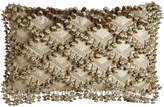 "Sweet Dreams Kensington Garden Matelasse/Leopard Pillow with Beaded Scalloped Ends, 25"" x 13"""