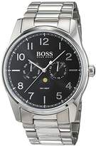 HUGO BOSS Heritage Mens Quartz Black Analogue Classic Silver Stainless Steel Strap 1513470