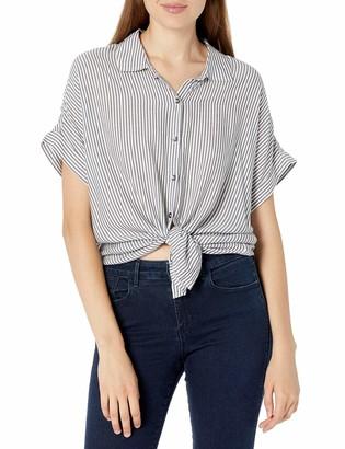 Splendid Women's Lily Loose Fit Button Down Short Sleeve Shirt
