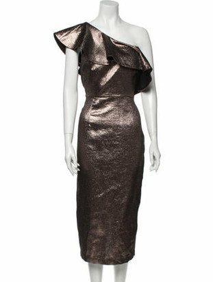 Rachel Zoe One-Shoulder Midi Length Dress w/ Tags Metallic