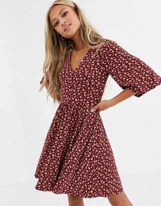 Asos Design DESIGN floral mini button front swing dress-Multi