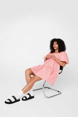 Nasty Gal Womens On Record-uory Puff Sleeve Mini Dress - Pink - 4