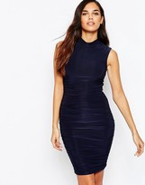 AX Paris Ruched Bodycon Dress With High Neck