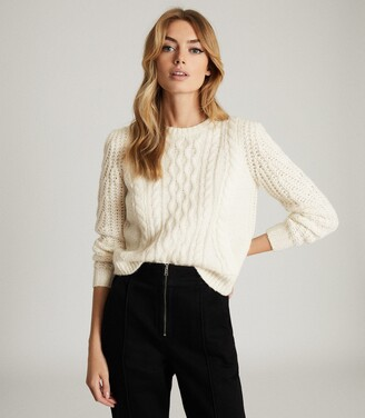 Reiss Amelie - Cable Knit Jumper in Cream