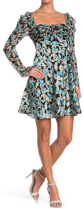 Diane von Furstenberg Josephina Floral Print Square Neck Mini Dress