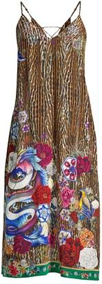 Camilla Mythical Creatures Back-Laced Silk Midi Dress