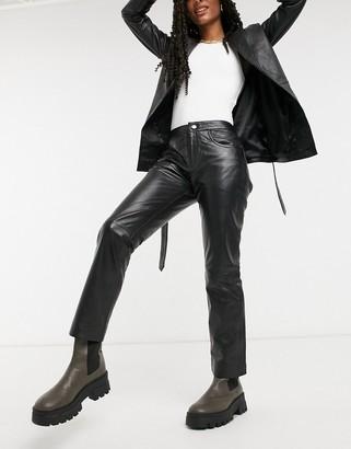 Muu Baa Muubaa cropped straight leg leather trousers in black