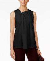 Alfani Petite Zipper-Detail Drape-Front Top, Only at Macy's