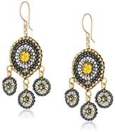 Miguel Ases Swarovski Center Triple Circle Drop Smoky and Daffodil Chandelier Drop Earrings