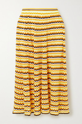 Victoria Victoria Beckham Open-knit Midi Skirt - Yellow
