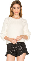1 STATE Lace Up Shoulder Sweater