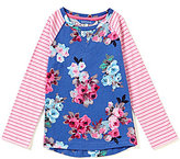 Joules Little Girls 3-6 Mixed-Media Floral and Striped Top