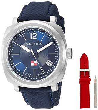 Nautica Men's Park Gate Stainless Steel Japanese-Quartz Watch with Leather Strap