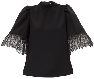 See by Chloe Lace-trimmed Bell-sleeved Crepe Blouse - Black
