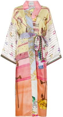 RIANNA + NINA Long Patchwork Printed Kimono Jacket