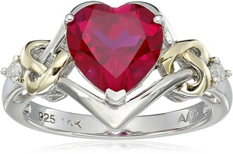 Amazon Collection Sterling Silver and 14k Yellow Gold Diamond and Heart-Shaped Created Ruby Ring (0.03 cttw