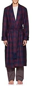 Derek Rose Men's York Plaid Wool Robe - Navy