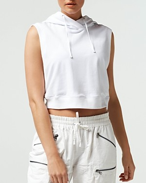 Blanc Noir Mesh Cropped Sleeveless Hoodie Top