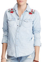 Denim & Supply Ralph Lauren Rose Embroidery Chambray Shirt