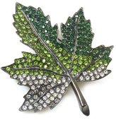 Kenneth Jay Lane Emerald Crystal & Gunmetal Maple Leaf Brooch Pin