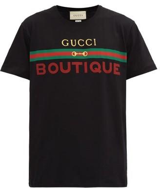Gucci Boutique-print Cotton-jersey T-shirt - Black