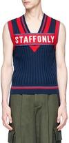 Staffonly 'Clerk' logo panel rib knit vest