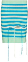 Thumbnail for your product : Charles Jeffrey Loverboy Distressed-Effect Striped Wool-Blend Skirt