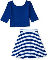 Ralph Lauren Scoop-Back Shirt & Striped Skirt Set, Big Girls (7-16)