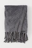 H&M Fleece Throw with Fringe - Gray