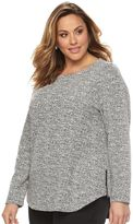 Croft & Barrow Plus Size Side Zipper Tweed Boatneck Sweater