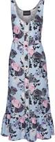 Nicholas Fluted Floral-print Linen Midi Dress