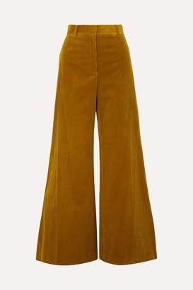 Bella Freud Bianca Cotton-corduroy Wide-leg Pants - Mustard