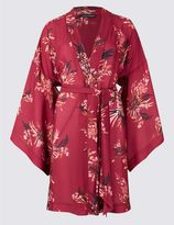Marks and Spencer Satin Floral Print Dressing Gown