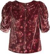 Rebecca Taylor Jewel ruched-sleeve floral-print velvet top