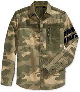 Sean John Men's Long-Sleeve Camo-Print Flight Shirt