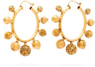Karry O - 5 Ball Gold-plated Hoop Earrings - Womens - Gold