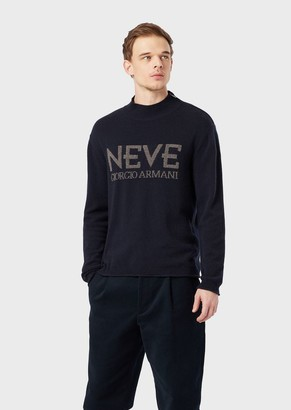Giorgio Armani Neve Mock Polo Neck In Wool And Cashmere