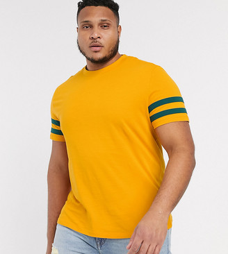 Asos Design DESIGN Plus organic t-shirt with contrast sleeve stripes in yellow