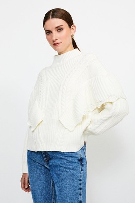 Karen Millen Rib Frill Knit Jumper