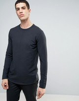 Selected Longline Sweatshirt with Curved Hem and Back Stitch