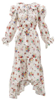 Horror Vacui Defensia Scalloped Floral-print Cotton Dress - Womens - White Print