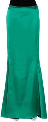 Just Cavalli Green Stretch Satin Flared Maxi Skirt S