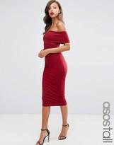 ASOS Tall ASOS TALL Deep Off The Shoulder Bardot Midi Bodycon Dress