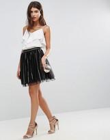 Asos Design DESIGN Sequin stripe tulle mini skirt with spot mesh underlayer