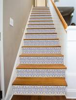 Spanish Tile RiserArt x 10 Painted Stairway Decoration Adhesive Vinyl Stair Riser Panels Easy To Install and Removable