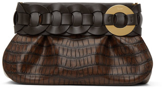 Chloé Brown Croc Darryl Clutch