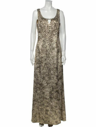 Carmen Marc Valvo Printed Long Dress Gold
