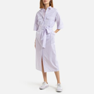 Midi Shirt Dress in Finely Striped Print with 3/4 Length Sleeves