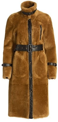 REMAIN Birger Christensen Shearling & Leather Longline Coat
