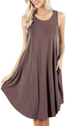 KIMODO Women's Sleeveless Dress Pockets Casual Swing T-Shirt Dresses Khaki